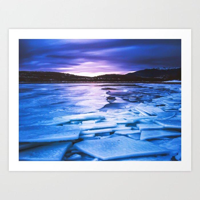 d199ce4131bc Lake Effect    Frozen Ice Water Sunset Mountain Landscape Photography Pink  Purple Blue Clouds Art Print