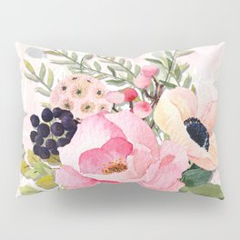 Pretty Pink Posies in Watercolor Pillow Sham