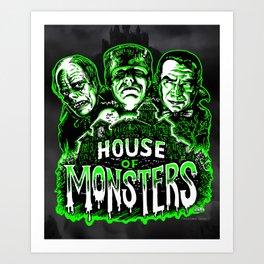 House of Monsters Phantom Frankenstein Dracula classic horror Art Print