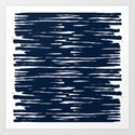 Maritime pattern- darkblue handpainted stripes on clear white- horizontal by simplicity_of_live