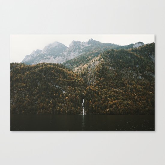 Autumn Waterfall at the Mountain Lake - Landscape Photography Canvas Print