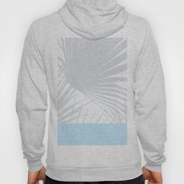 Tropical Pastel Grey Palm Leaves on Soft Blue Hoody