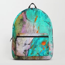 Hand painted teal orange black watercolor Backpack