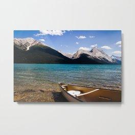 Maligne Lake Beached Canoe Metal Print