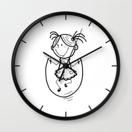 Little girl jumping rope Wall Clock