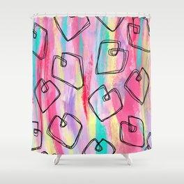 Heart Pattern Love Illustration Coloful Shower Curtain