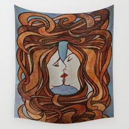 Lesbian Kiss (Art Nouveau Style) Wall Tapestry