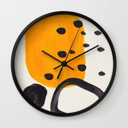 Unique Abstract Unique Mid century Modern Yellow Mustard Black Ring Dots Wall Clock
