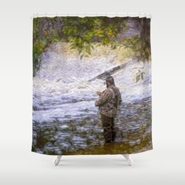 Trout fishing Shower Curtain
