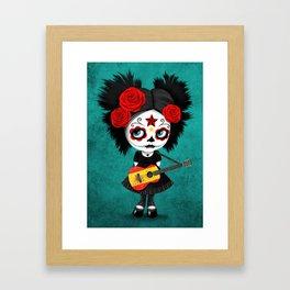 Day of the Dead Girl Playing Spanish Flag Guitar Framed Art Print