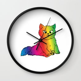 Colorful Cute Funny Rainbow Kitten Rave LGBTQ Community Gay Lesbian Transgender Cat T-shirt Design Wall Clock