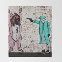 Street Art London Queen Thug Urban Wall Graffiti Artist Prolifik Throw Blanket