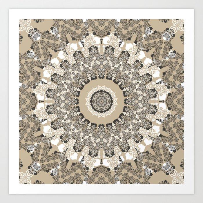 Beige brown kaleidoscope . Art Print