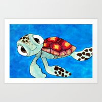 finding nemo Art Prints featuring Squirt From Finding Nemo by Jadie Miller