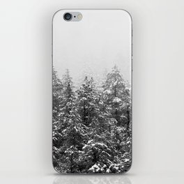 Black and White Snowy Pine trees iPhone Skin