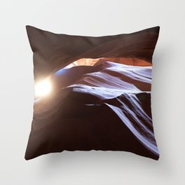 Sun Overhead in Lower Antelope Canyon, Arizona Throw Pillow