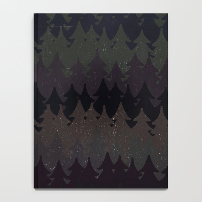 The secret forest at night - Abstract dark tree pattern Notebook