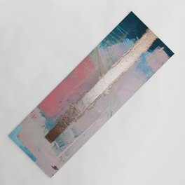 Morning Light: a minimal abstract mixed-media piece in pink gold and blue by Alyssa Hamilton Art Yoga Mat