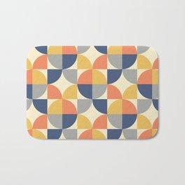 Mid Century Modern Geometric Pattern 330 Blue Yellow Orange Gray and Beige Bath Mat
