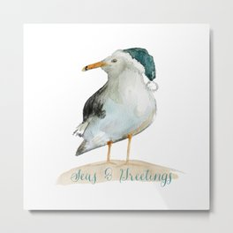 Seas & Greetings Coast Christmas Metal Print
