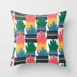 Potted plant pattern Throw Pillow
