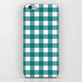 Gingham (Teal/White) iPhone Skin