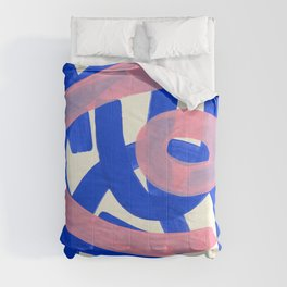 Tribal Pink Blue Fun Colorful Mid Century Modern Abstract Painting Shapes Pattern Comforters
