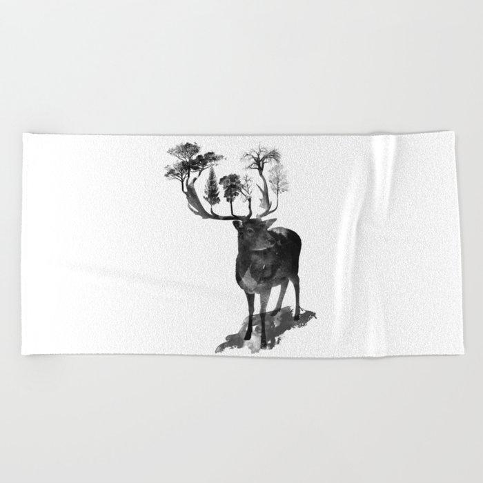 The Black Forest Deer Beach Towel