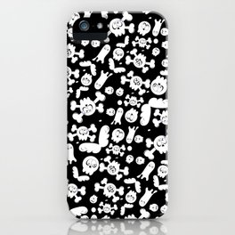 Skulls and ghosts pattern in black iPhone Case