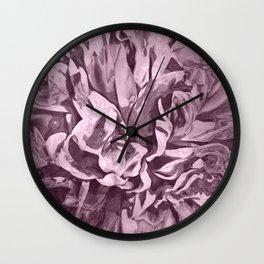 Sepia Pink Painted Peony Wall Clock