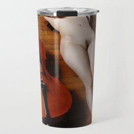 0137-JC Nude Cellist with Her Cello and Bow Naked Young Woman Musician Art Sexy Erotic Sweet Sensual Travel Mug
