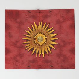 """Aztec Sun and pickled coral"" Throw Blanket"