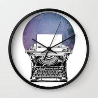 typewriter Wall Clocks featuring Typewriter by Rebecca Joy - Joy Art and Design