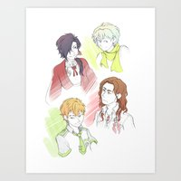 dramatical murder Art Prints featuring DRAMAtical Boyfrans by wattleseeds