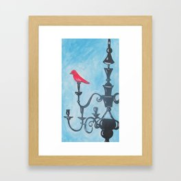 Red Bird on Chandelier Framed Art Print