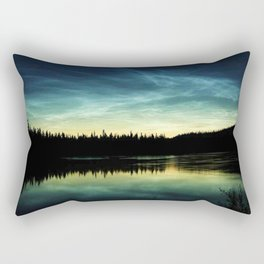 Noctilucent Clouds Over Forest Lake Rectangular Pillow