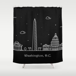 Washington D.C. Minimal Nightscape / Skyline Drawing Shower Curtain