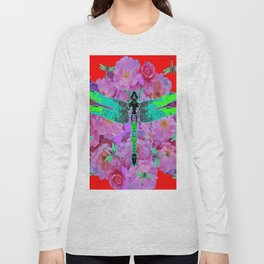 EMERALD DRAGONFLIES  PINK ROSES RED COLOR Long Sleeve T-shirt