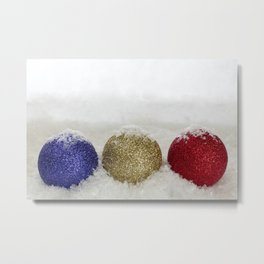Christmas Baubles Sprinkled With Snow Metal Print