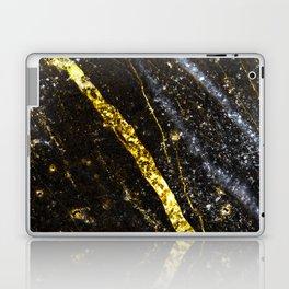 Gold sparkly line on black rock Laptop & iPad Skin