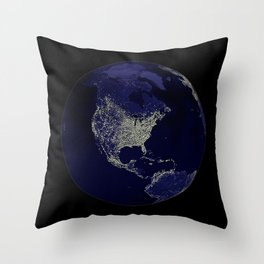 Earth Globe Lights Throw Pillow