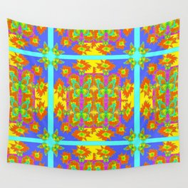 BOHEMIAN STYLE QUILTED TURQUOISE BUTTERFLIES & FLOWERS Wall Tapestry
