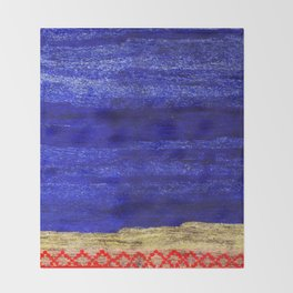 V24 New Blue Calm Traditional Moroccan Carpet Texture. Throw Blanket