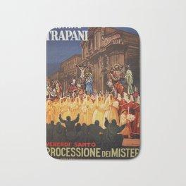 Italian travel ad Christian Easter procession Trapani Bath Mat