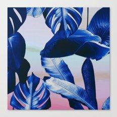 Cobalt blue tropical leaves Canvas Print