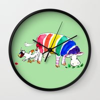 cows Wall Clocks featuring Cows by Hattie Hyder
