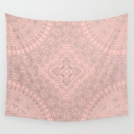 Baby Pink Silver Mandala Pattern Illustration Wall Tapestry