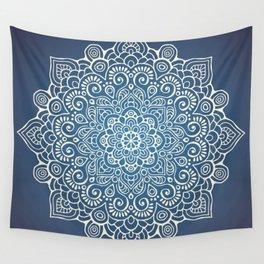 Mandala dark blue Wall Tapestry
