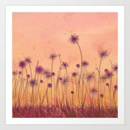 Dreamy Violet Dandelion Flower Garden Art Print
