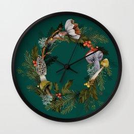Mushroom Forest Wreath Wall Clock